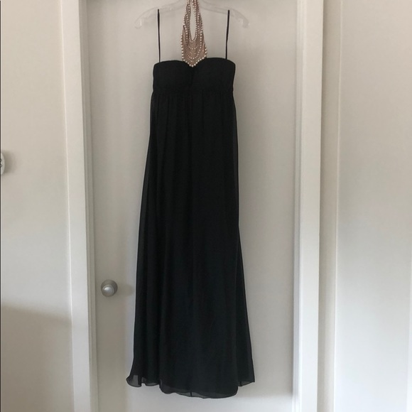Aidan Mattox Dresses & Skirts - Black Maxi Dress with Pearl and Diamond Neck